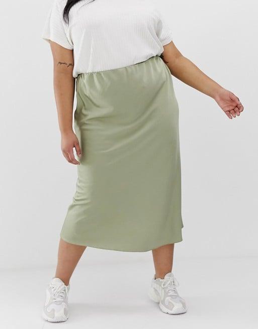 ASOS Design Curve Bias Cut Satin Slip Midi Skirt