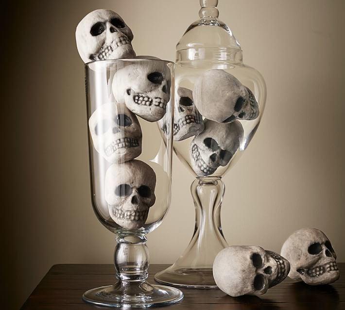 Pottery Barn Mini Skull Vase Filler Cheap Halloween Decor