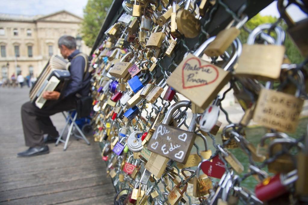 Add a Lock to the Pont des Arts Bridge in Paris