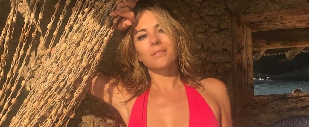 Elizabeth Hurley Pink Swimsuit