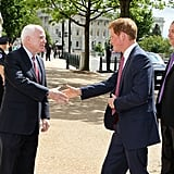 Prince Harry shook hands with John McCain on his way into the Capitol.