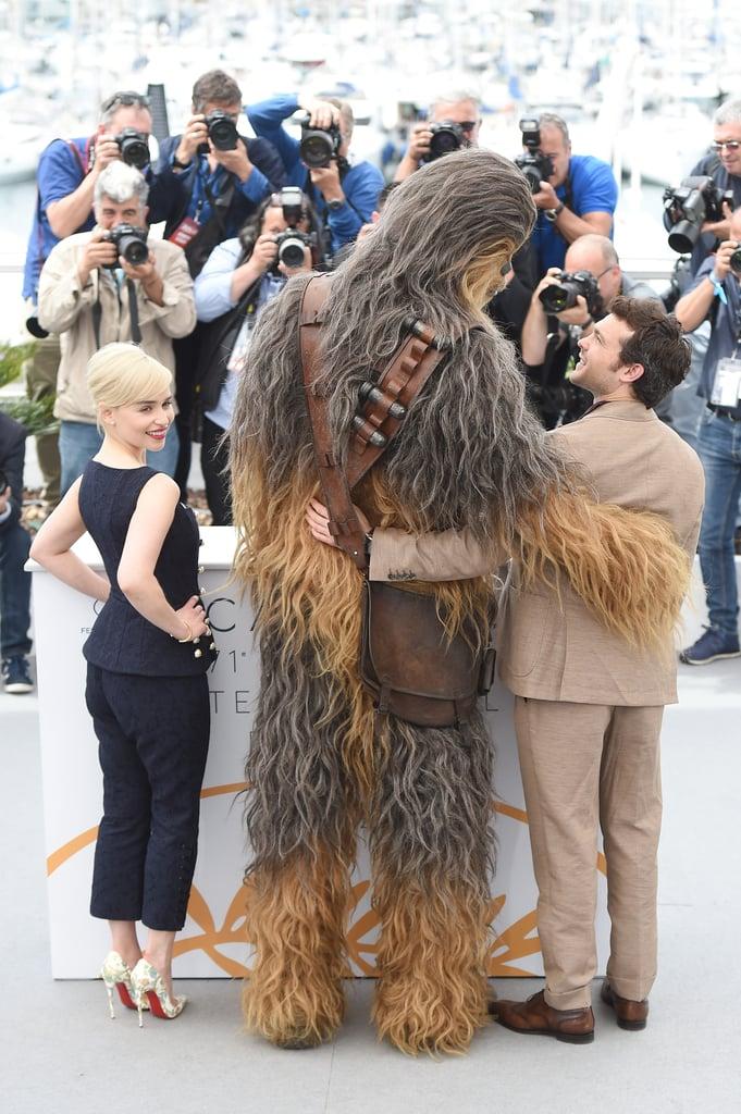 Emilia Clarke, Chewbacca, and Alden Ehrenreich