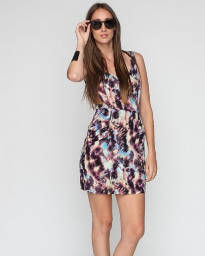 Temper the sexy fit with a denim vest or army jacket and flat sandals for your everyday — then dress it up with woven wedges for evening.  Need Supply Co. Stellar Star Dress ($48)