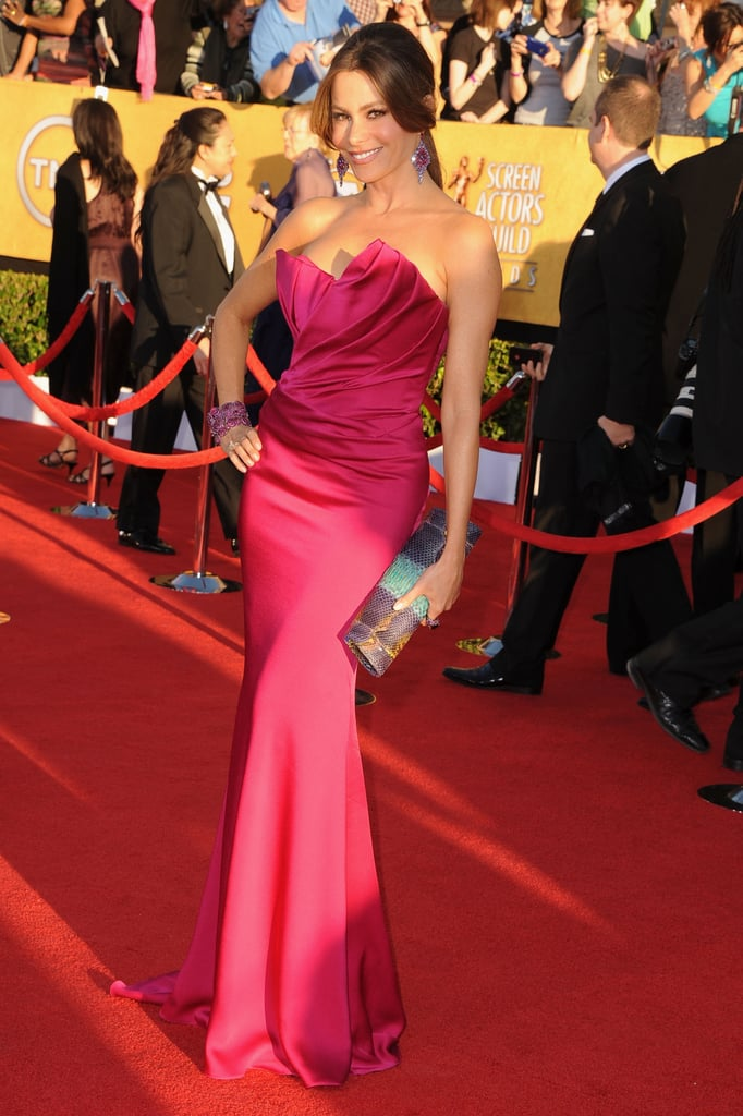 Sofia Vergara went with another strapless gown for today's SAG Awards in LA. She wore a hot pink number from Marchesa for the occasion, after wearing a similar blue Vera Wang to the Golden Globes. She's up for an honour today thanks to Modern Family. Sofia is nominated in the category of outstanding performance by an actress in a comedy series, and interestingly, so is her co-star Julie Bowen. We'll see if either of the Modern Family gals takes home the prize over Nurse Jackie's Edie Falco, 30 Rock's Tina Fey, or Hot in Cleveland's Betty White. Weigh in on Sofia's look by voting on Fab and Bella's fashion and beauty polls.