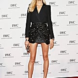 "Karolina Kurkova, in a slick tuxedo-inspired Blumarine jacket and skirt combo, gave us the ""legs for days"" look at the For the Love of Cinema event."
