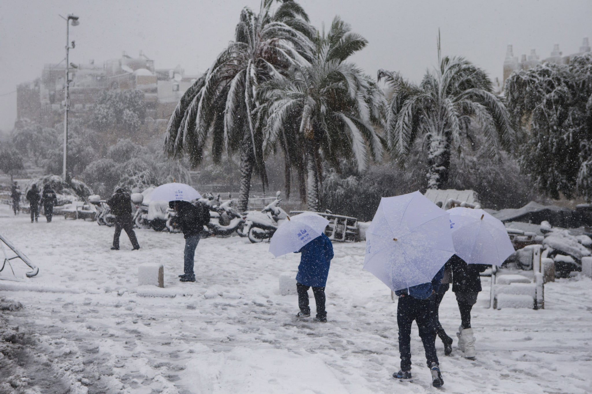 People carried umbrellas to walk through the snow near Damascus gate in Jerusalem.