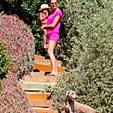 Heidi Klum and Lou Samuel watched their family play by the beach.