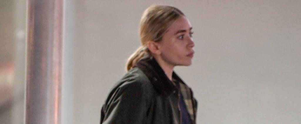 Ashley Olsen Wearing Green Coat With Fuzzy Collar