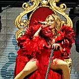 J Lo began her routine seated on a throne.