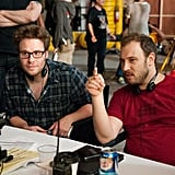Seth Rogen and producer Evan Goldberg on the set of This Is the End.