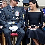 Ugh, could these two be any cuter?! Meghan and Harry snuck some loving glances at each other as they sat together at the commemorative service. Kate Middleton, who wore a powder blue Alexander McQueen coat for the occasion, was also there with her hubby, Prince William.