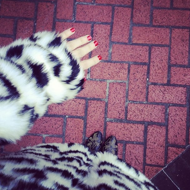 The only thing that caught our eye more than Emma Roberts's red-hot manicure was her Forever 21 coat. Source: Instagram user emmaroberts6