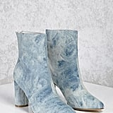 Forever 21 Acid Wash Denim Ankle Boots