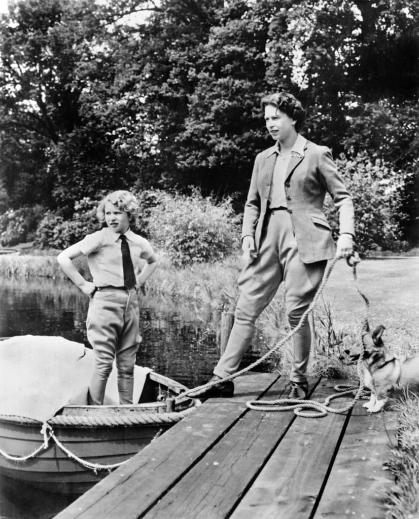 Queen Elizabeth, Prince Anne, and a Floof, Date Unknown