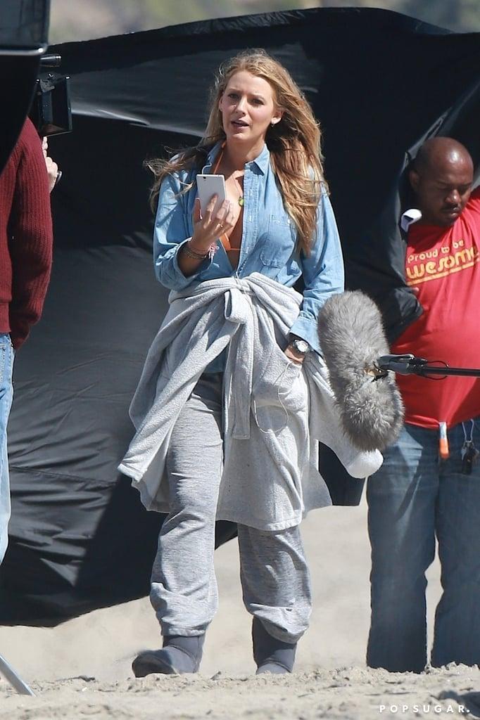 Blake Lively Pregnant on Set April 2016