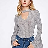 Shein Choker Neck Heather Knit Top