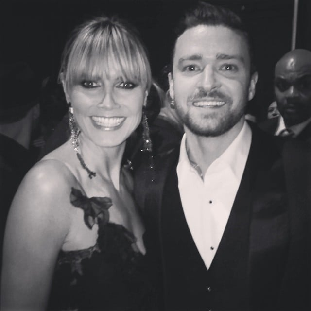 Heidi Klum looked pretty happy to be posing with Justin Timberlake.  Source: Instagram user heidiklum
