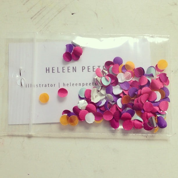 Business cards that come with a little something extra, like emergency confetti, are sure to get some major points.  Source: Instagram user heleen007