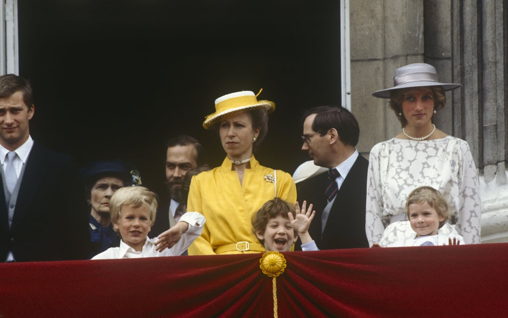 Princess Anne at the 1983 Trooping the Colour Ceremony Alongside Princess Diana