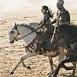 Kristen Stewart rode a white horse for the scene.