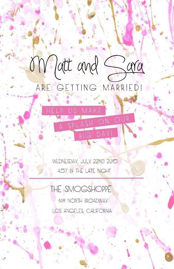 Splatter-Print Invitation   Free Printable Wedding ...