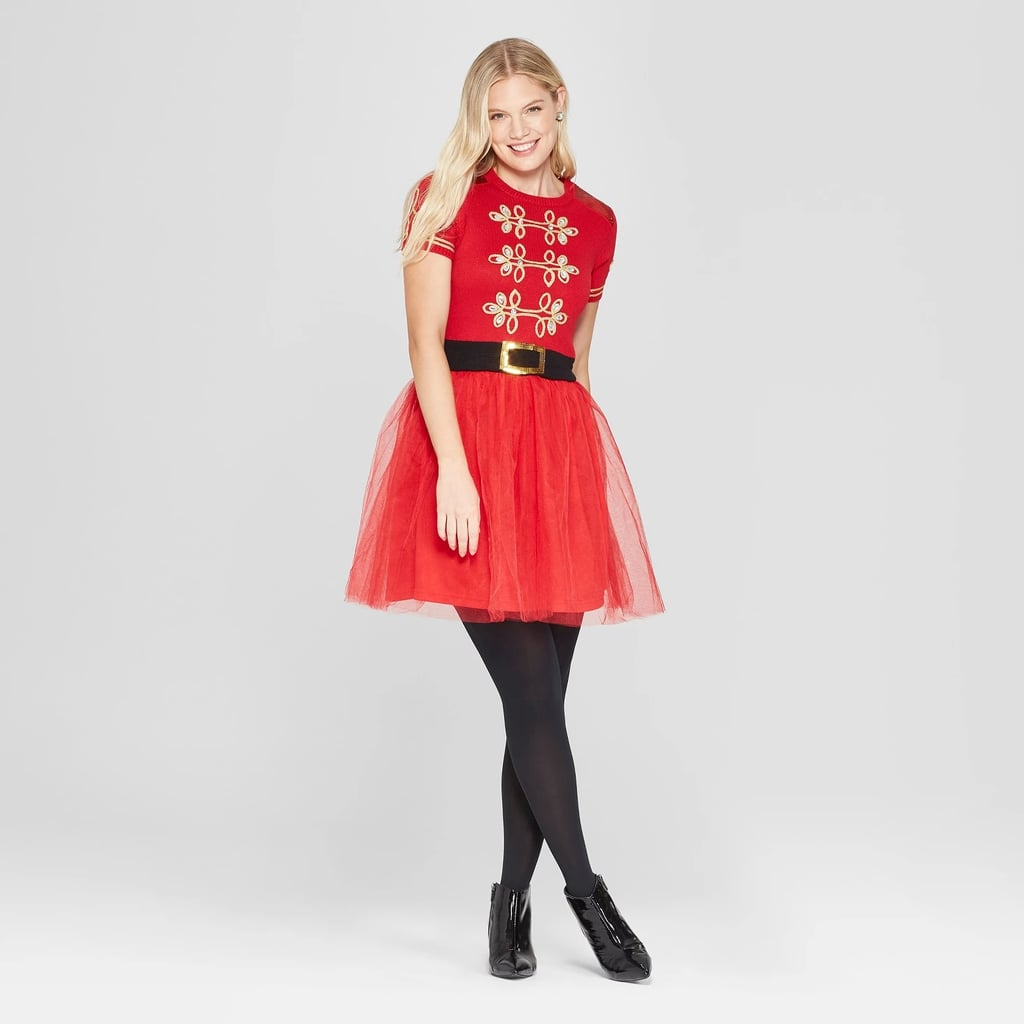 Women Christmas Sweater Dress.Women S Christmas Toy Soldier Dress With Tulle Ugly