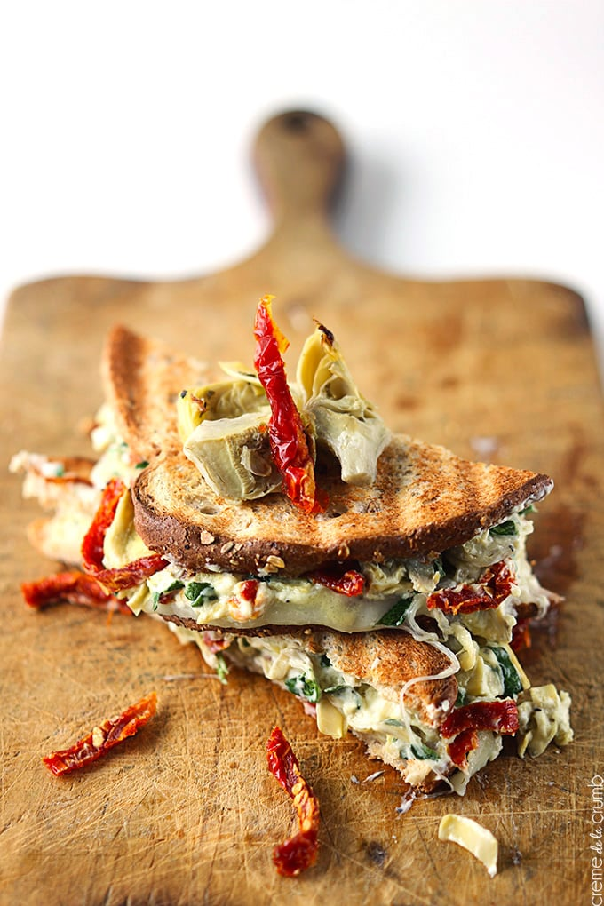 Cheesy Spinach Artichoke and Sun-Dried Tomato Panini