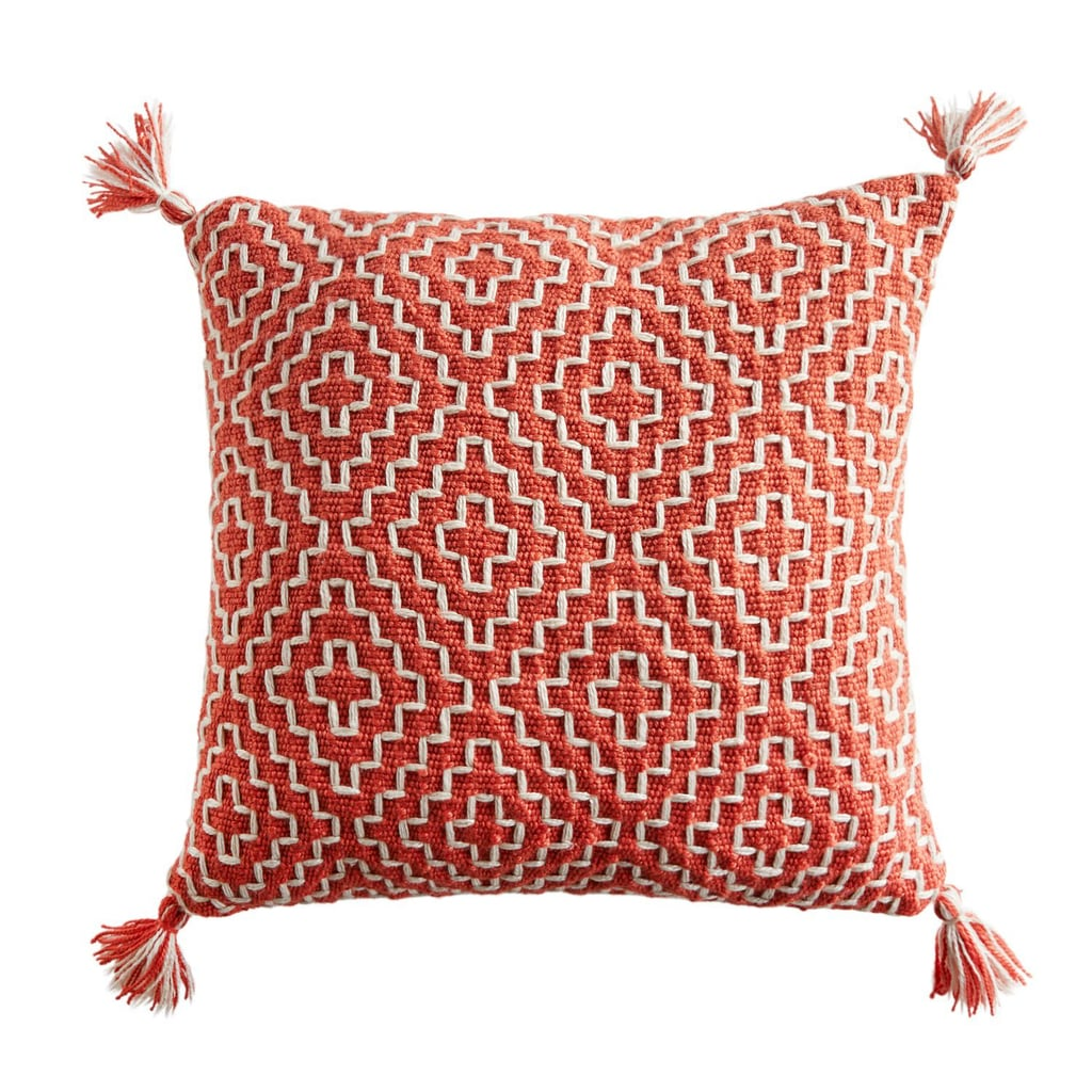 Geometric Pom Square Coral Pillow