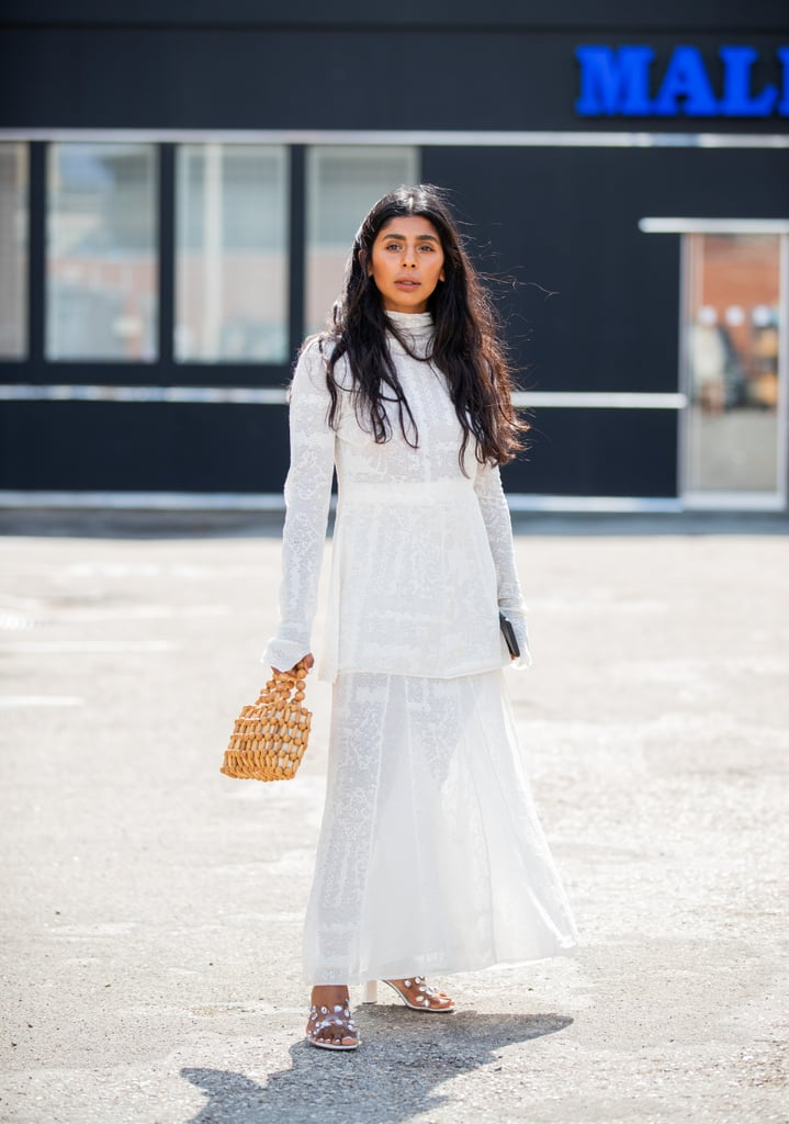 Wear chunky white sandals under your all white lacy dress.