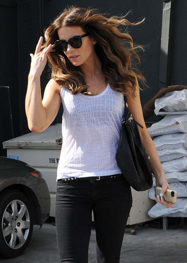 Kate Beckinsale's hair blew in the wind during her Monday out in LA.