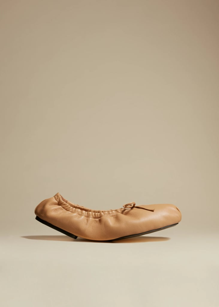 Khaite The Ashland Ballet Flat in Tan Leather