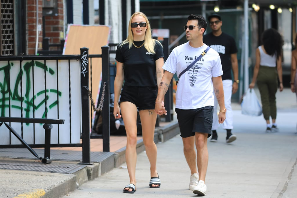 Sophie Turner in a Black Tee and Shorts in 2019