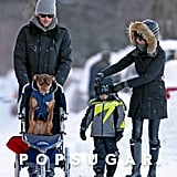 Gisele Bündchen and Tom Brady took a walk in snowy Boston with their son, Benjamin, and their dog, Lua.
