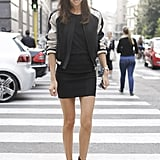 A varsity jacket and statement heels send this LBD into unexpectedly chic territory.