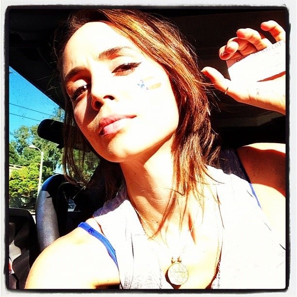 "Eliza Dushku wore her ""I Voted"" sticker on her cheek.  Source: Instagram user elizadushku"