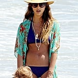Jessica Alba hung out in her bikini on an LA beach.