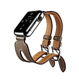 The Apple Watch Hermès in the Double Buckle Cuff in Swift and Epsom calfskin leathers.
