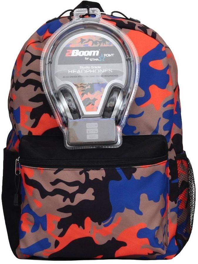Camo Backpack & Headphones Set