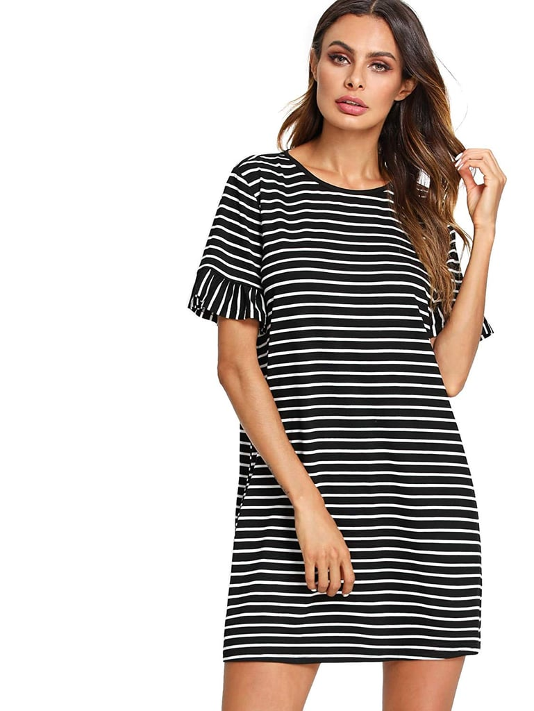 Floerns Striped Short-Sleeve T-Shirt Dress