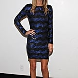 Nicky Hilton donned sparkly stripes for Alice + Olivia.