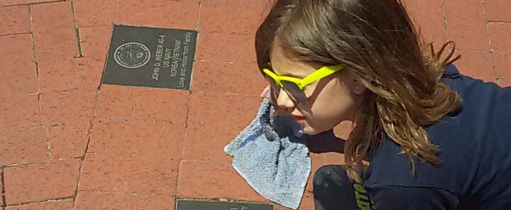 "A Little Girl Spent Hours Polishing a Veterans' Memorial Because ""It Felt Right"""