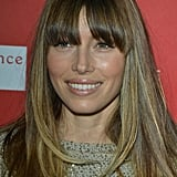 Jessica Biel kept her makeup natural and finished off her look with long bangs.