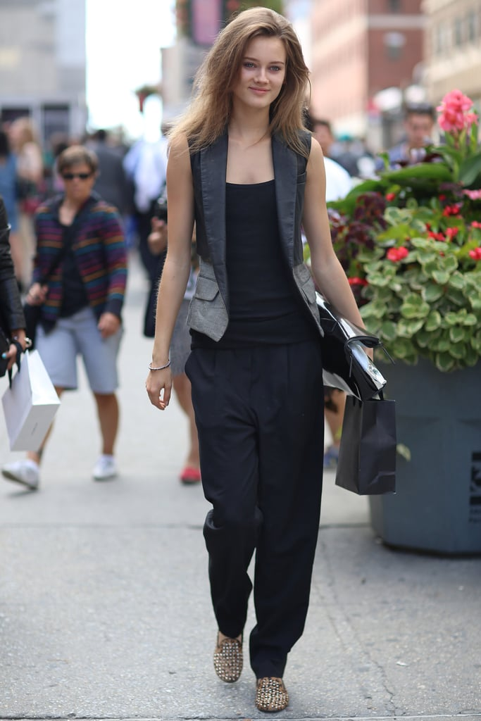 We love the way this vest added a cool, borrowed-from-the boys effect to basic black, playing perfectly off of a pair of studded loafers. Source: Greg Kessler