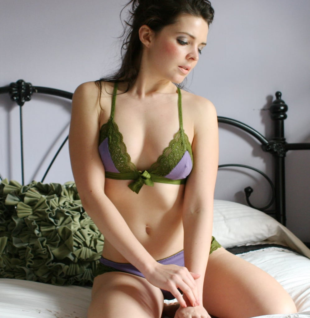 Organic cotton bra with lace trim ($46)