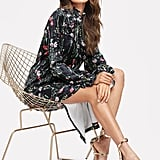 Shein Frilled Cuff and Neck Floral Velvet Dress