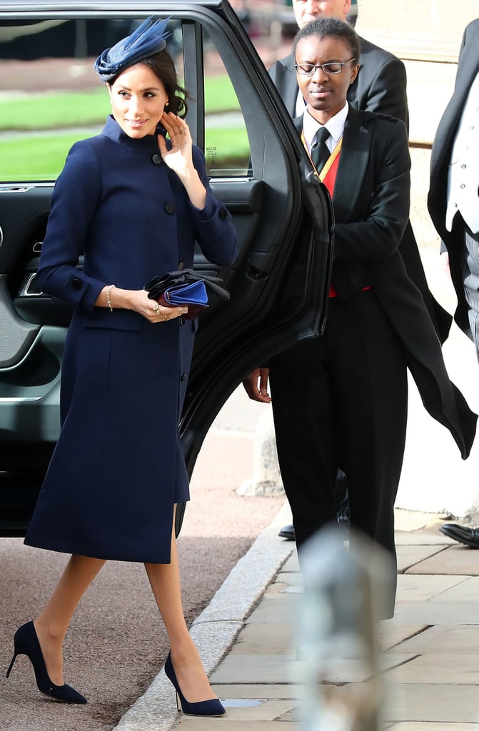 Meghan arrived at Eugenie's wedding in October 2018. She walked quickly into the church so as not to draw attention away from the bride and groom.
