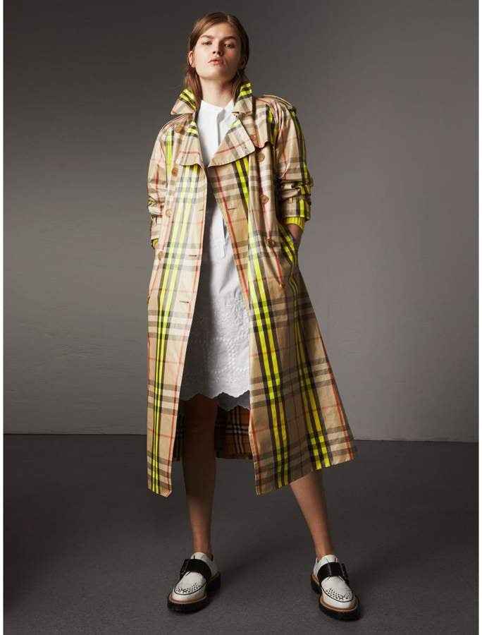 Burberry Laminated Check Trench Coat
