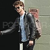 Andrew Garfield looks good in a leather jacket.