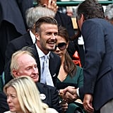 David Beckman greeted a man while sitting with his lovely wife Victoria Beckham at Wimbledon.