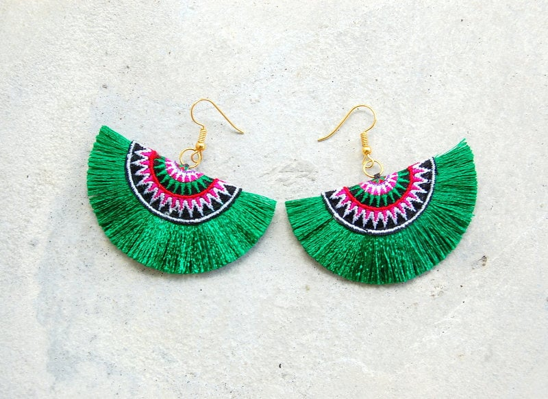 Green Embroidered Tassel Earrings